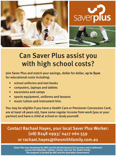 Saver plus roma mitchell secondary college for Saver plus